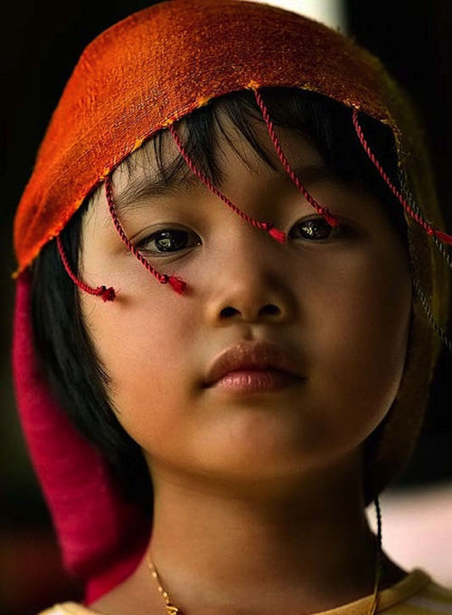 portrait of a young girl from a tribal vilage of Thailand