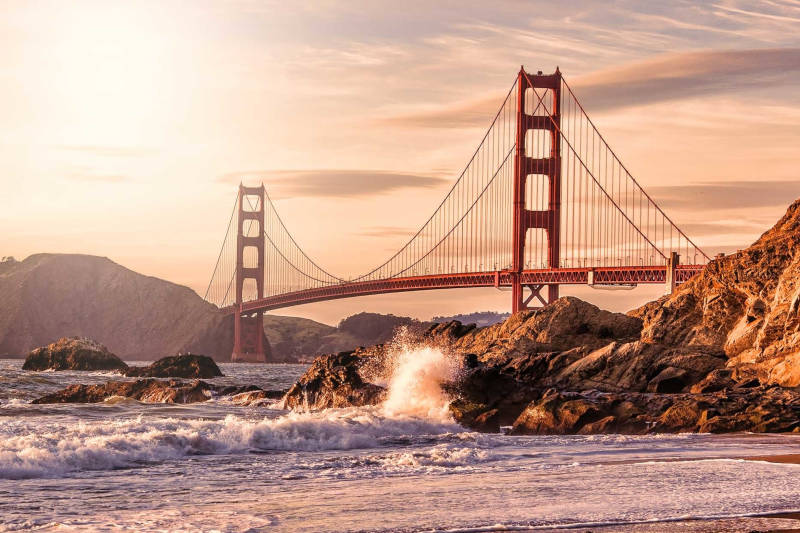 Golden State bridge at sunset
