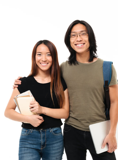 a male and female student of Modulo Language School's group classes